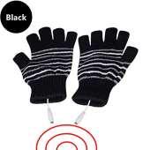 USB Powered Heated Fingerless Gloves - BLACK