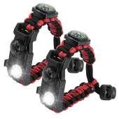 Paracord Survival Bracelet - RED BLACK