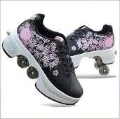 Wedsf Pulley Shoes Skates Kids Roller Skate 2 in 1 - BLACK/PINK