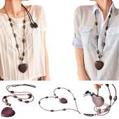 Bluetooth Headphones Stereo Necklace - Brown