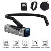 ORDRO EP7 4K Vlog Hands-Free Camcorder Head Wearable Video Camera 60fps APP Control Built in 2-Axis Gimbal with 64G Micro SD Card, Remote Control,Carrying Case
