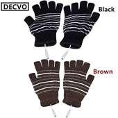 USB Powered Heated Fingerless Gloves - BLACK + BROWN