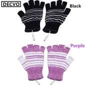 USB Powered Heated Fingerless Gloves - BLACK + PURPLE