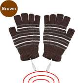 USB Powered Heated Fingerless Gloves - BROWN