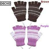 USB Powered Heated Fingerless Gloves - PINK + PURLPE