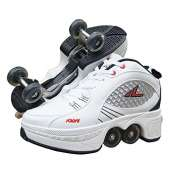 MLyzhe Deformation Roller Shoes Male and Female Skating Shoes Adult Children's Automatic Walking Shoes Invisible Pulley Shoes Skates with Double-Row Deform Wheel (37, C)