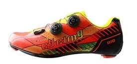 Tiebao Professional Road Bike Cycling Shoes Ultralight Breathable Carbon Fiber Non-Slip Riding Shoes, Orange/Black, US 9