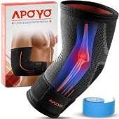 Myovolt Elbow Wearable Massage Alt - Elbow Compression Sleeve for Tendonitis, Tennis Elbow Brace, Golf Elbow, Weightlifting, & More, with Adjustable Strap & Bonus Elastic Therapeutic Tape, for Workouts(Large)