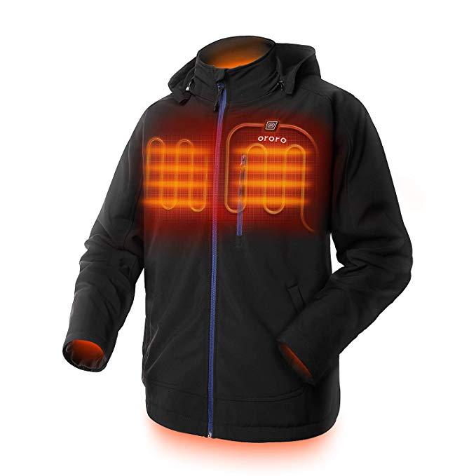 ORORO Men's Soft Shell Heated Jacket W/Hood 2