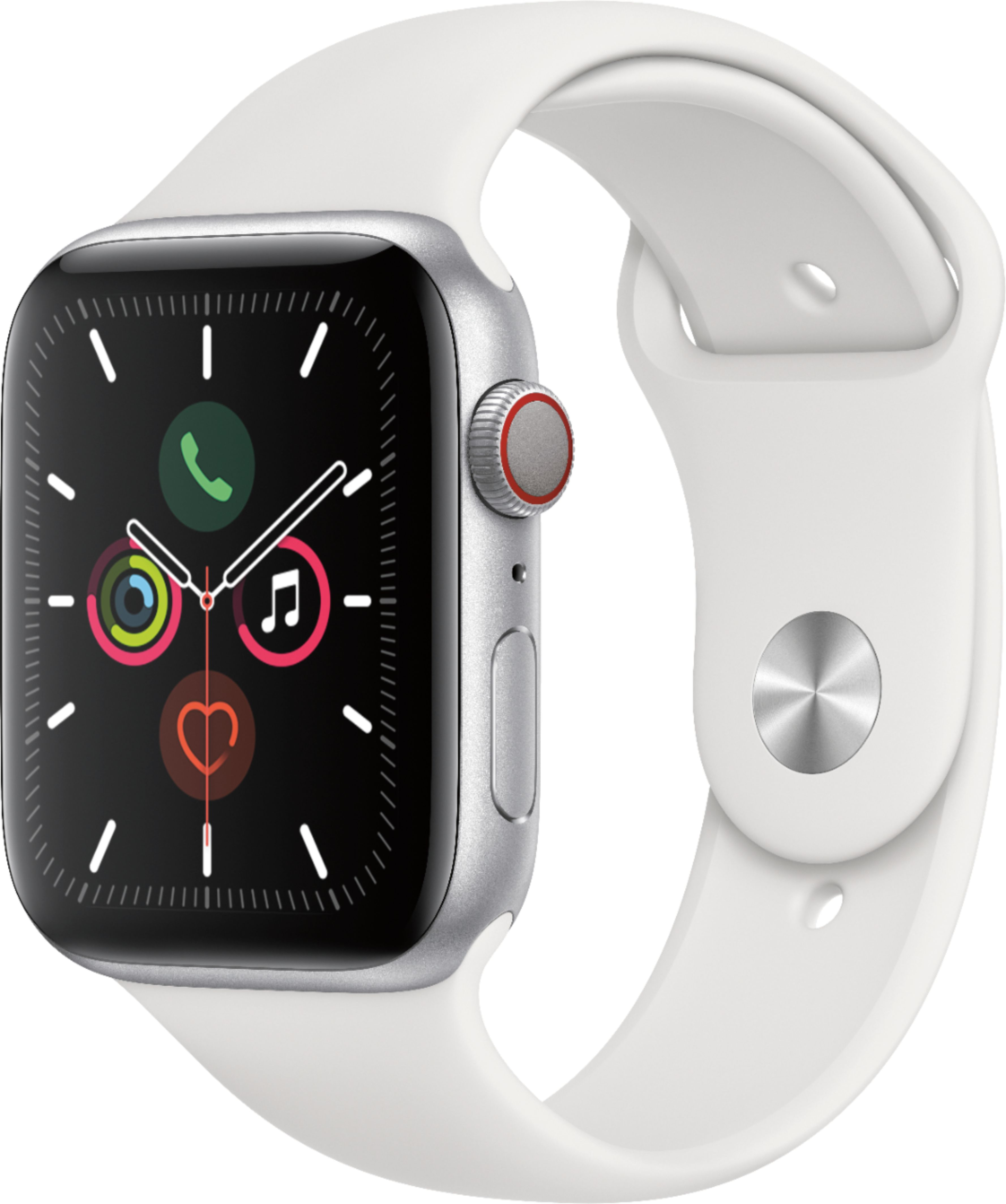 Apple - Apple Watch Series 5 (GPS + Cellular) 44mm Silver Aluminum Case with White Sport Band - Silver Aluminum