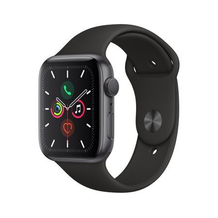 Apple Watch Series 5 GPS, 44mm Space Gray Aluminum Case with Black Sport Band - S/M & M/L