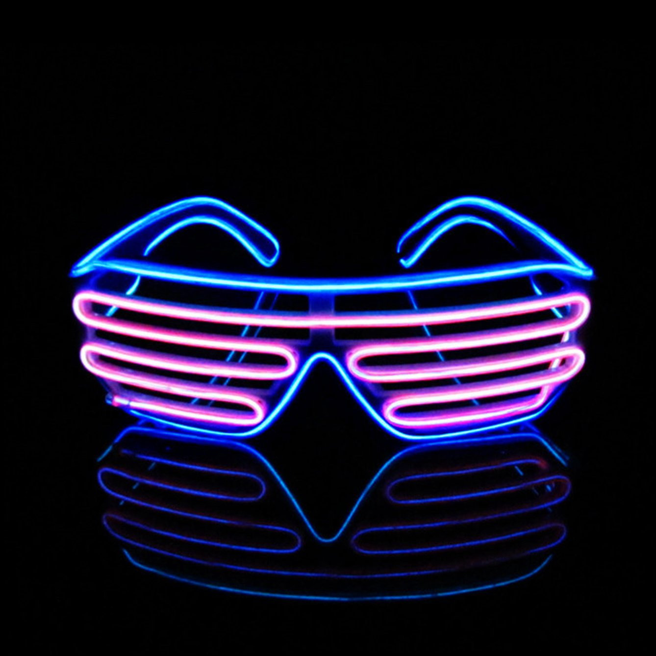 Aquat Glow Shutter Neon Rave Glasses El Wire LED ...