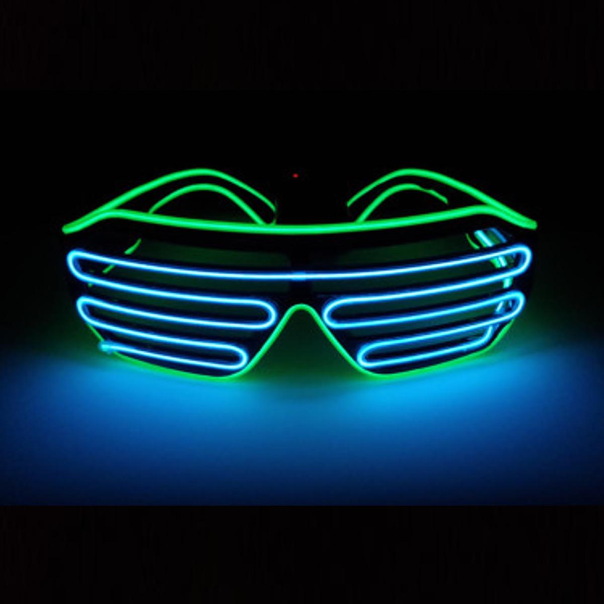 El Wire Neon LED Sound Control Light Up Glow Sunglasses ...