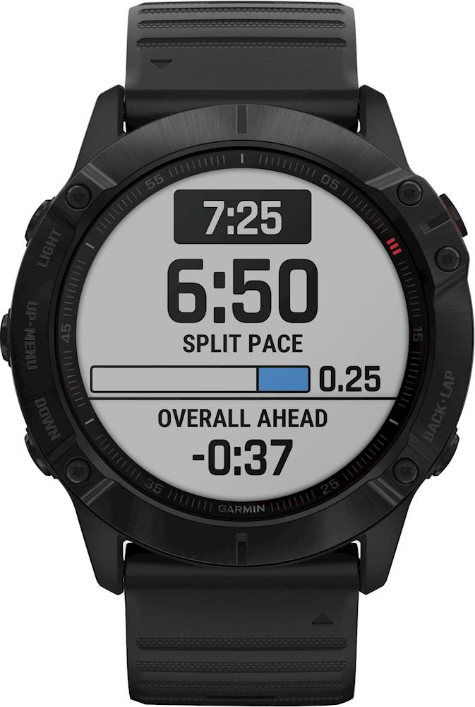 Garmin - fenix 6X Pro Smartwatch 51mm Fiber-Reinforced Polymer - Black With Black Band