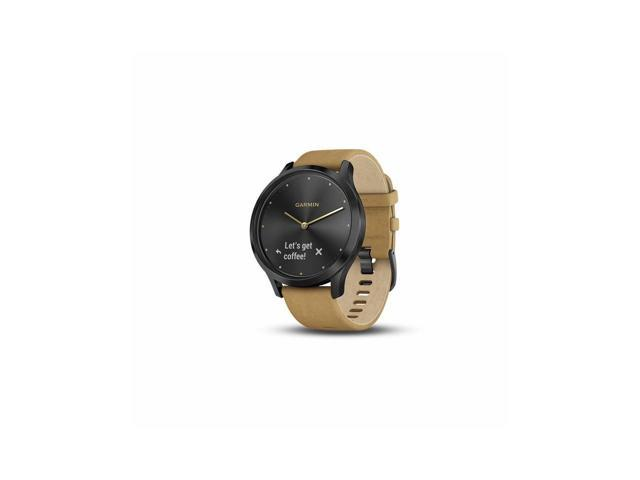 Garmin Vivomove HR Premium (Onyx Black w/ Suede) Small/Medium Hybrid Smartwatch