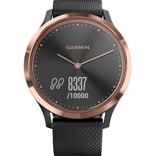 Garmin - vívomove HR Sport Hybrid Smartwatch 43mm Fiber-Reinforced Polymer - Black Silicone