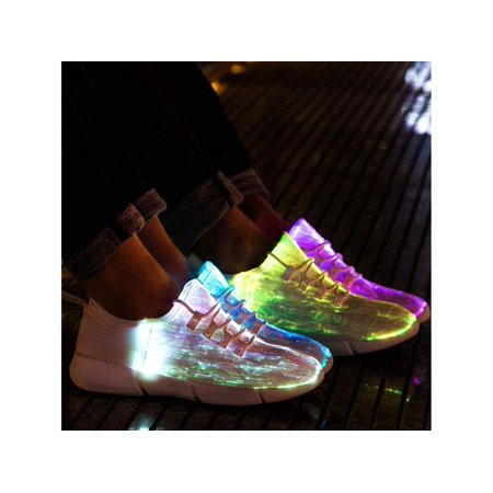 Idea Frames Fiber Optic LED Light Up Shoes for Women Men USB, White, Size 11.0