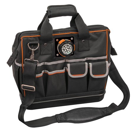 Klein Tools 55431 Black & Orange Tradesman Pro 31 Pocket Lighted Tool Bag