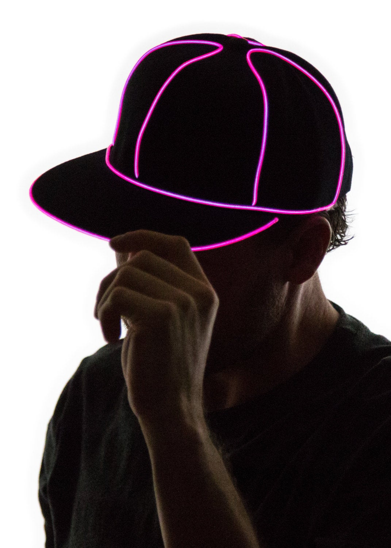 Light Up Snapback Hat Black Glow in the Dark Tron Rave
