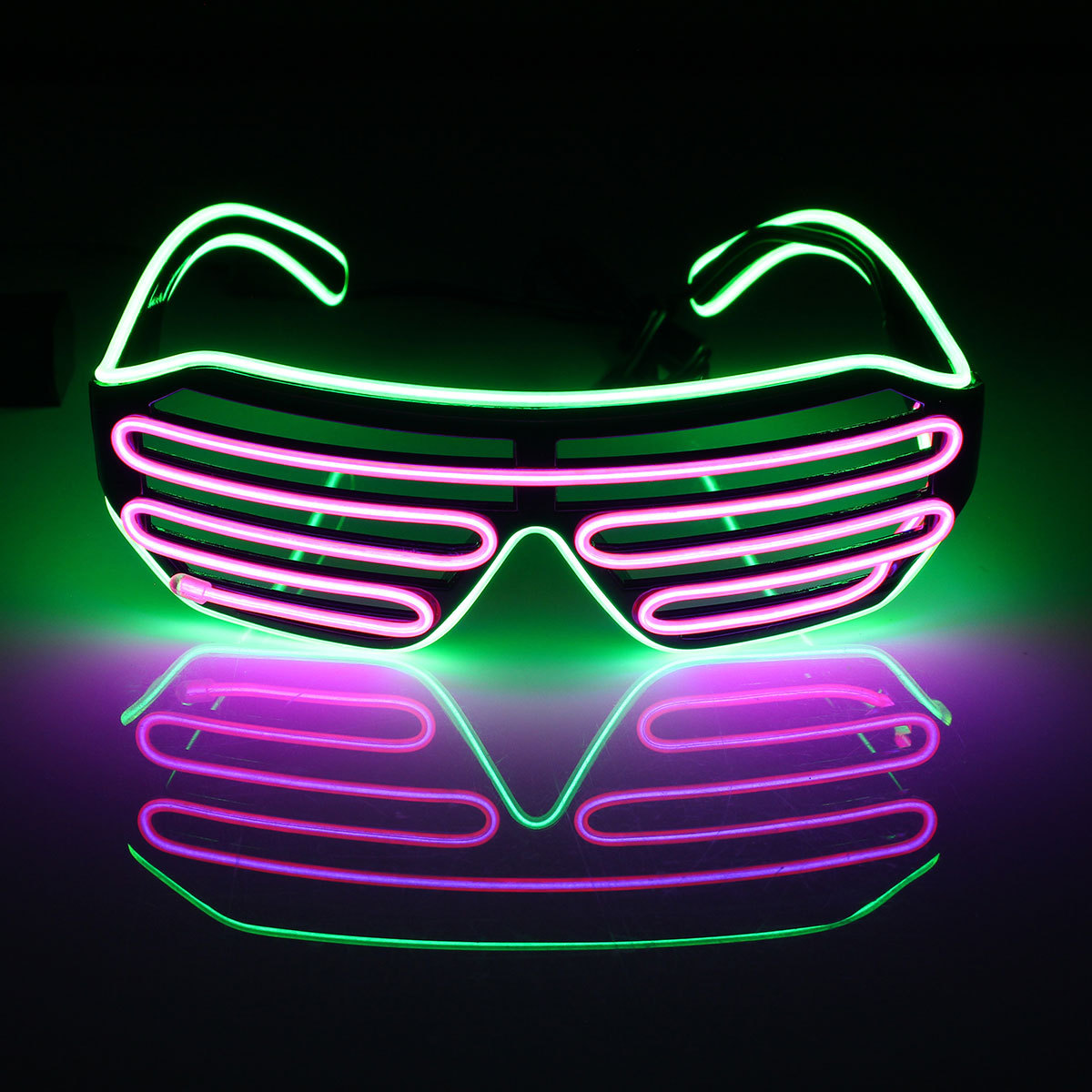 Neon El Wire LED Light Up Double Shutter Glasses Glow Rave ...
