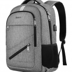Grey Backpack with USB Charging Port and RFID Pocket 8