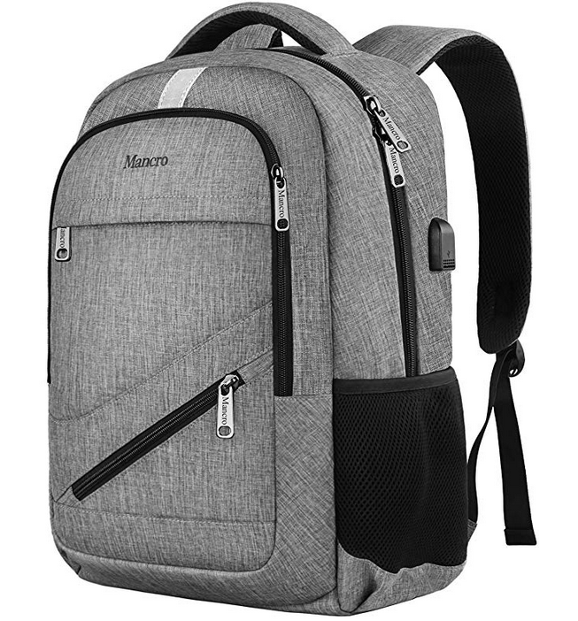 Grey Backpack with USB Charging Port and RFID Pocket 2