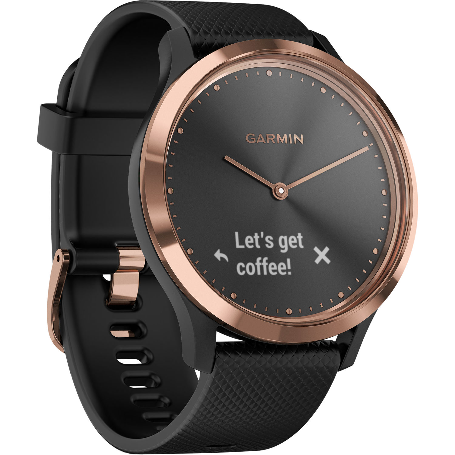 Vivomove HR Sport Watch Rose Gold with Black Silicone Band (Small/Medium)