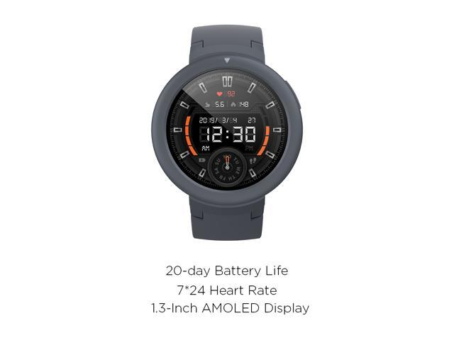 Amazfit Verge Lite by Huami with 20-Day Battery Life, 24/7 Heart Rate and Activity Tracking 1.3 Inch AMOLED Touchscreen IP68, US Service and Warranty (Grey)