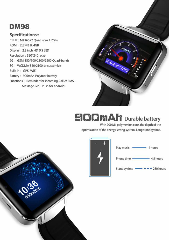 DM98 3G Camera Smart Watch Phone 320*240HD Resolution 2 ...