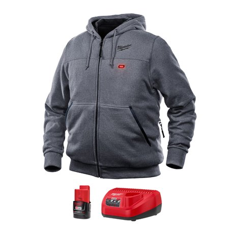 Milwaukee M12 S Long Sleeve Unisex Full-Zip Heated Hoodie Kit Gray