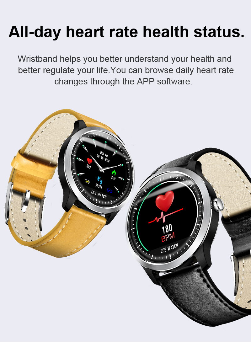 NEW Waterproof N58 ECG Watch Heart Rate Blood Pressure ...