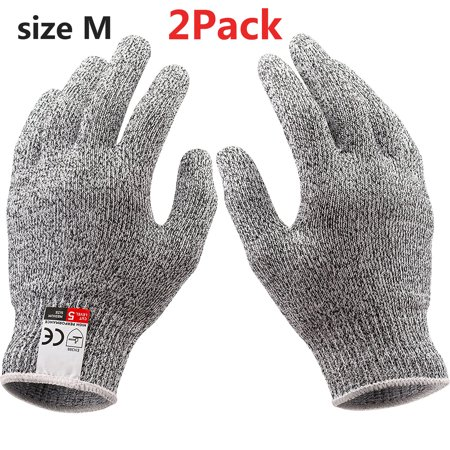 NoCry Cut Resistant Gloves Kitchen Large, TECBOX High Performance CE Level 5 Protection, Food Grade Kitchen and Work Safety Gloves - Size Medium, Gray 2Pack