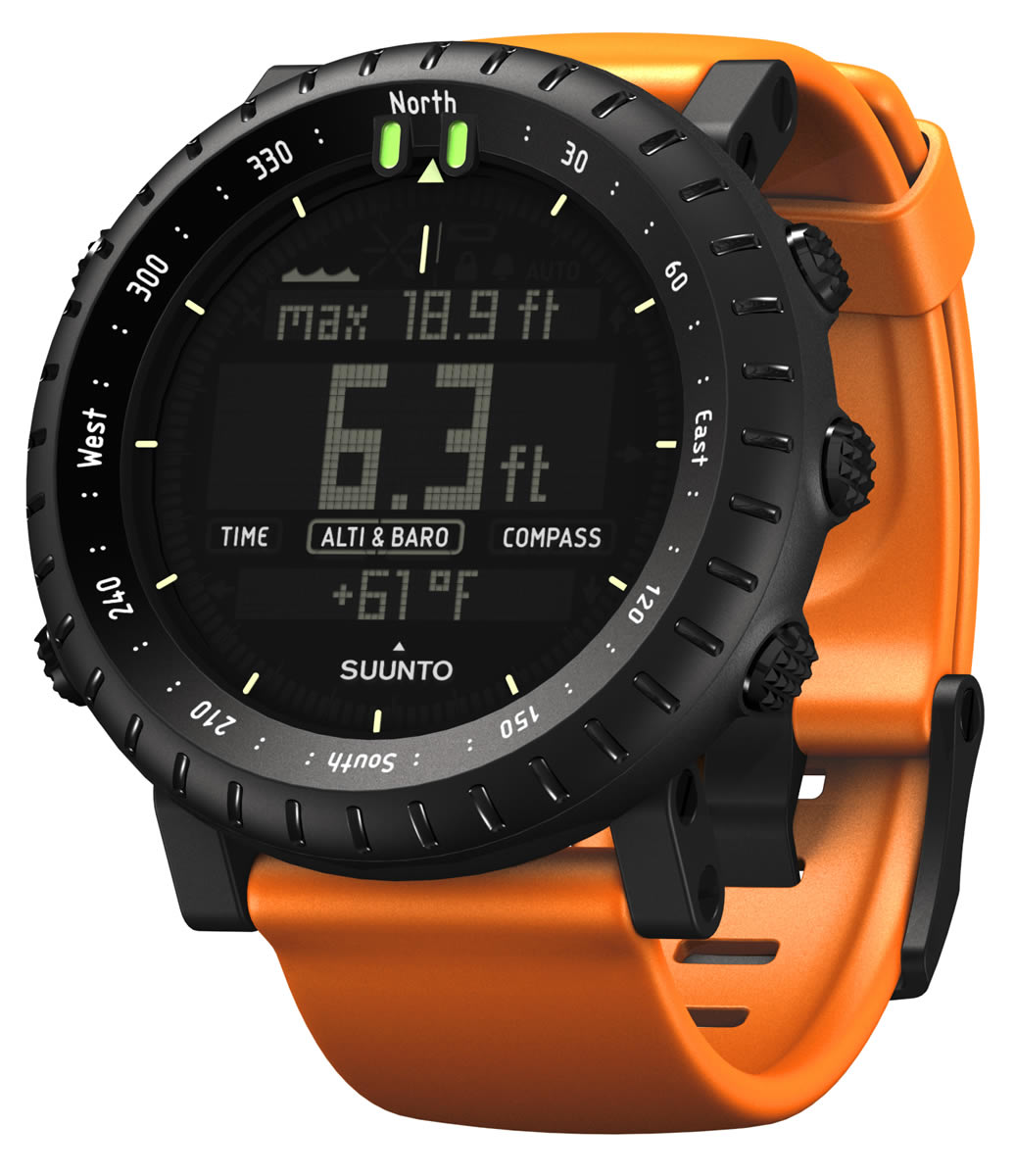 Striking Suunto Core Black watch with Flat Orange Strap