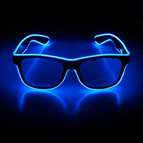 Aquat Light up El Wire Neon Rave Glasses - BLUE