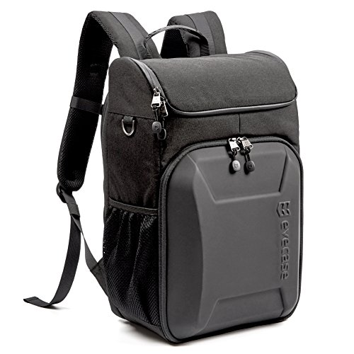 Evecase Hard Shell SLR DSLR Camera Bag Backpack, Travel Waterproof Laptop and Camera Insert with Rain Cover for Canon Sony Nikon Mirrorless Cameras Lens and More Photography Accessories - Black