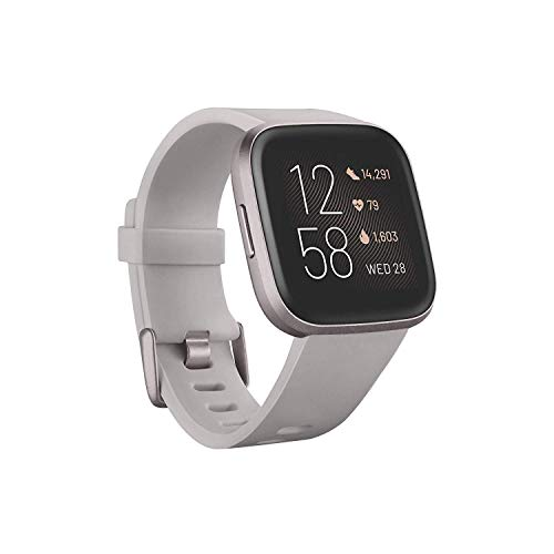 Fitbit Versa 2 Health & Fitness Smartwatch - Stone/Mist Grey, One Size (S & L Bands Included)