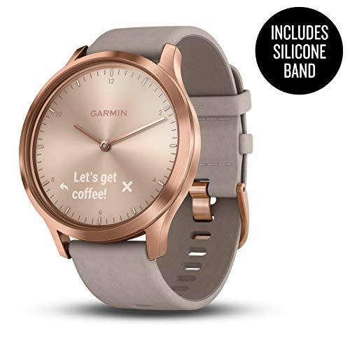 Garmin Vívomove HR, Hybrid Smartwatch for Men and Women, Rose Gold w/ Suede Band