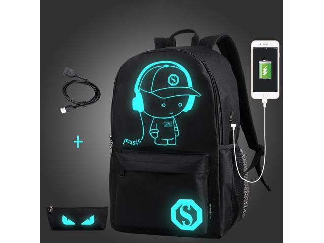 Student School Backpack Anime Luminous USB Charge Laptop Computer Backpack-Demon