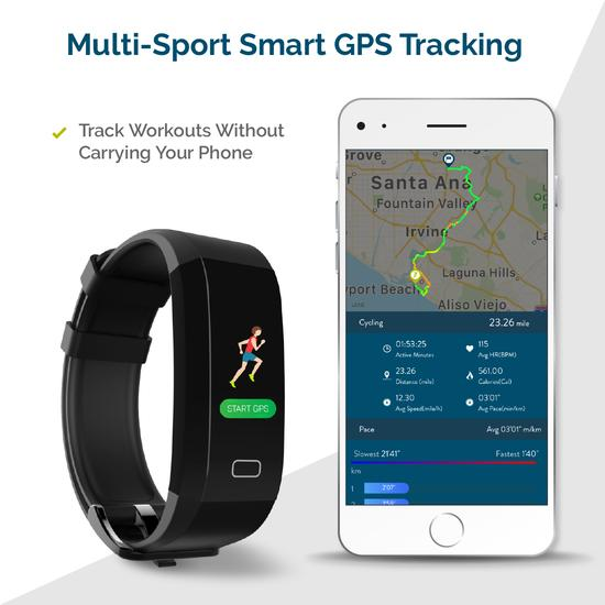 FOMO Fit GPS - black band fitness watch with heart ...