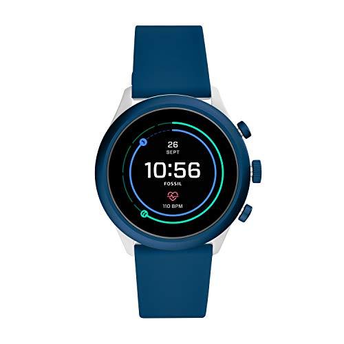 Fossil Men's Sport Smartwatch, Color: Grey, Navy Blue (Model: FTW4036)