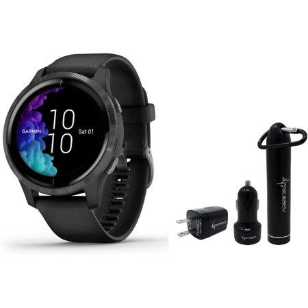 Garmin Venu GPS Smartwatch with AMOLED Display and Wearable4U Power Pack Bundle (Black/Slate)