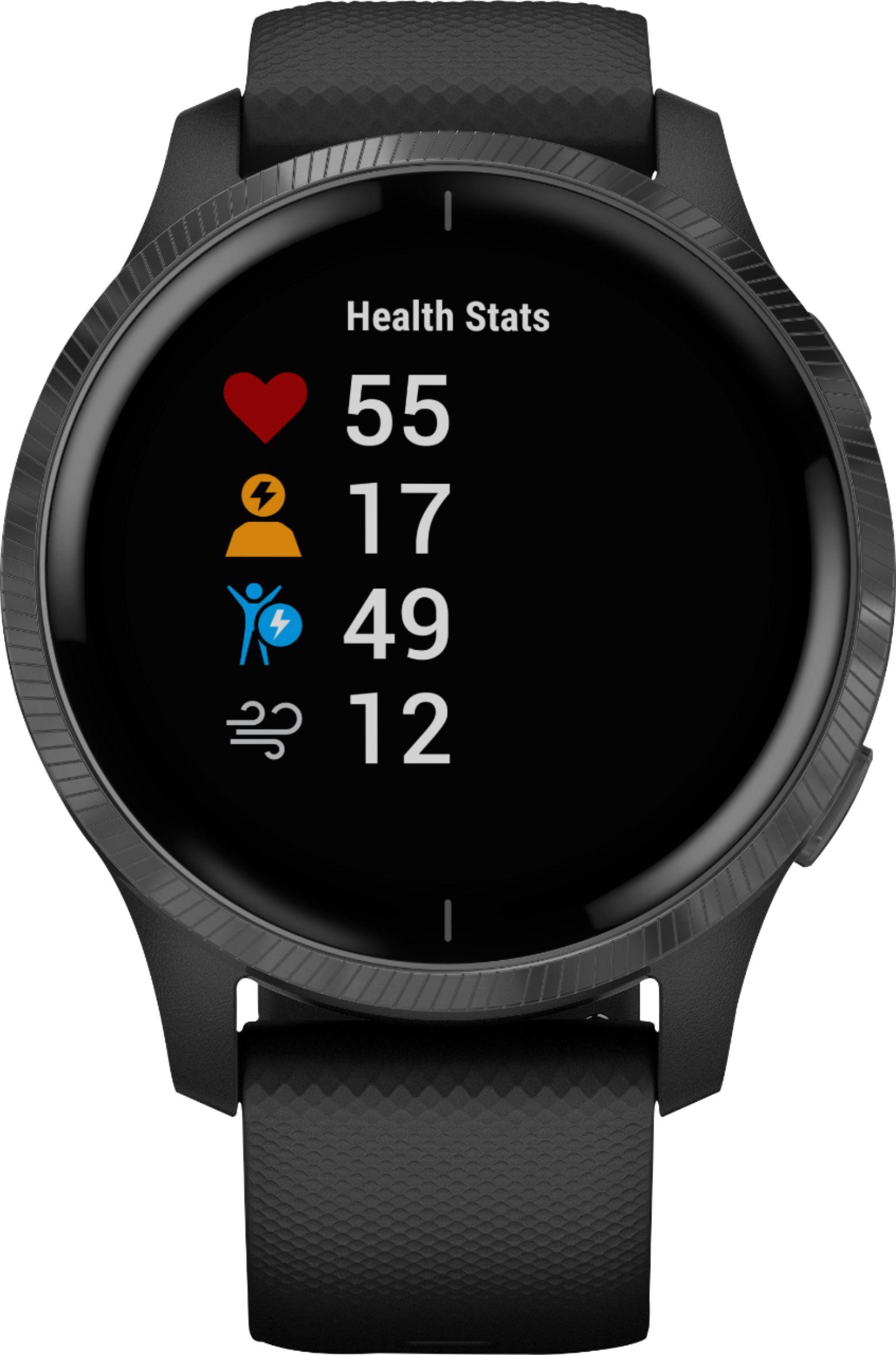 Garmin - Venu Smartwatch 43mm Fiber-Reinforced Polymer - Black With Silicone Band