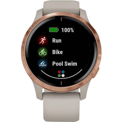 Garmin - Venu Smartwatch 43mm Fiber-Reinforced Polymer - Light Sand With Silicone Band