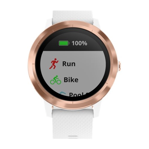 Garmin - vívoactive 3 Smartwatch - Rose Gold with White Silicone Band