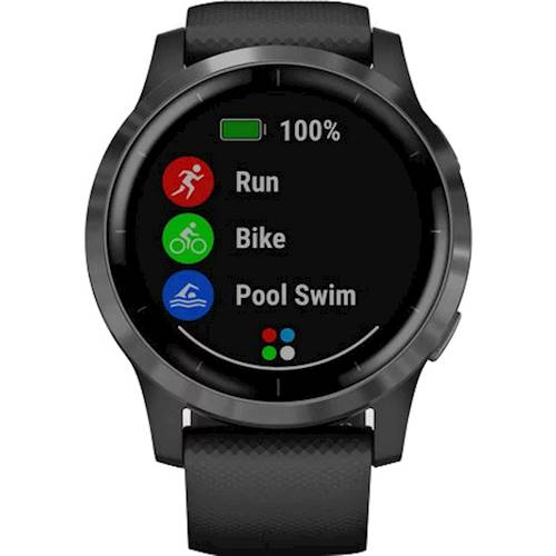 Garmin - vívoactive 4 Smartwatch 45mm Fiber-Reinforced Polymer - Slate with Black Case and Silicone Band