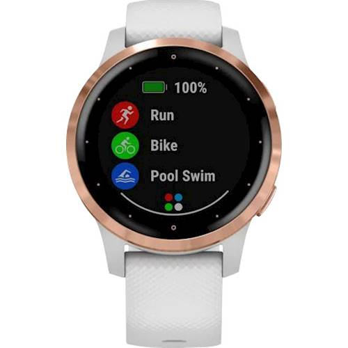 Garmin - vívoactive 4S Smartwatch 40mm Fiber-Reinforced Polymer - Rose Gold With White Case And Silicone Band