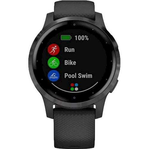 Garmin - vívoactive 4S Smartwatch 40mm Fiber-Reinforced Polymer - Slate With Black Case And Silicone Band