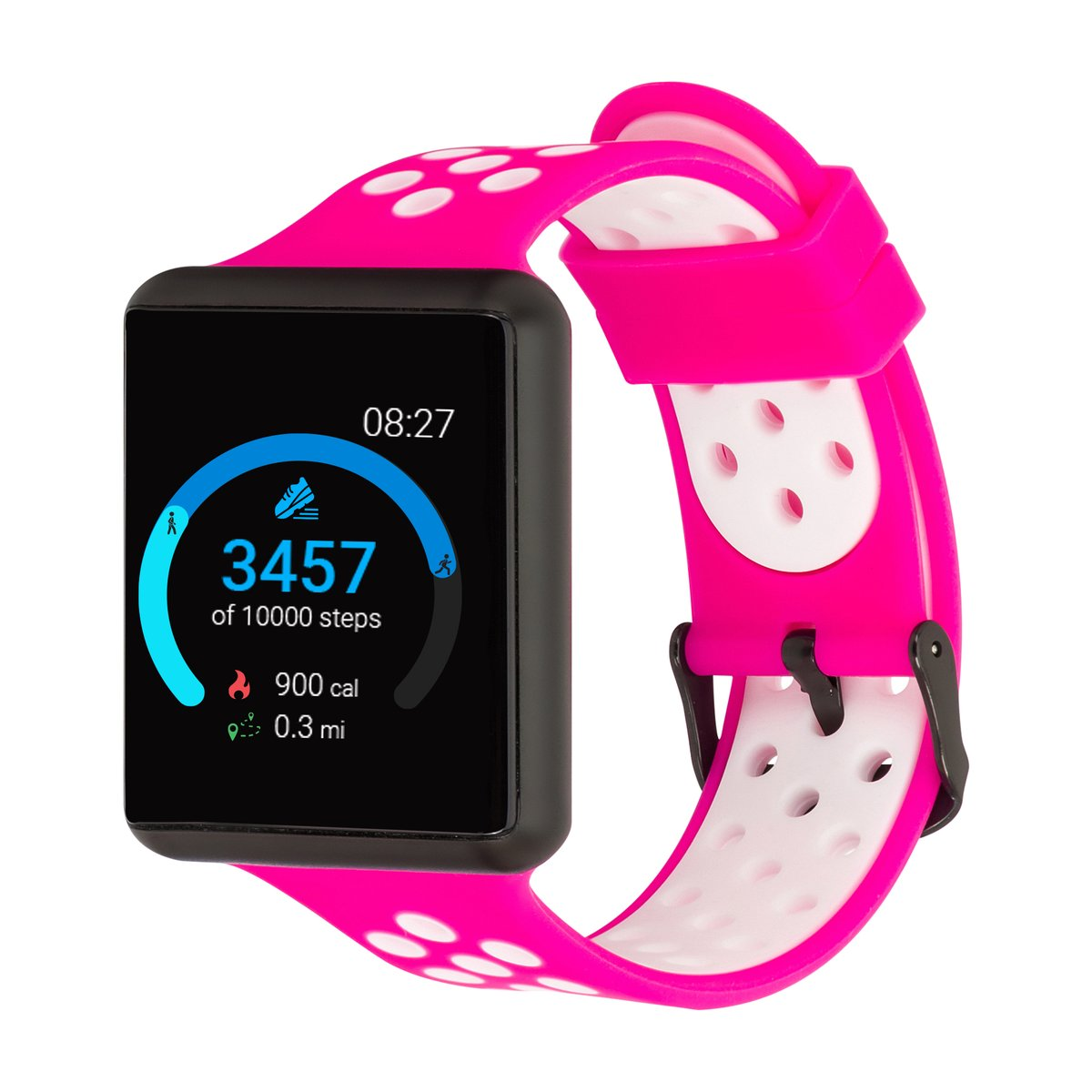 iTouch Air SE Smartwatch: Black Case With Fuchsia/White ...