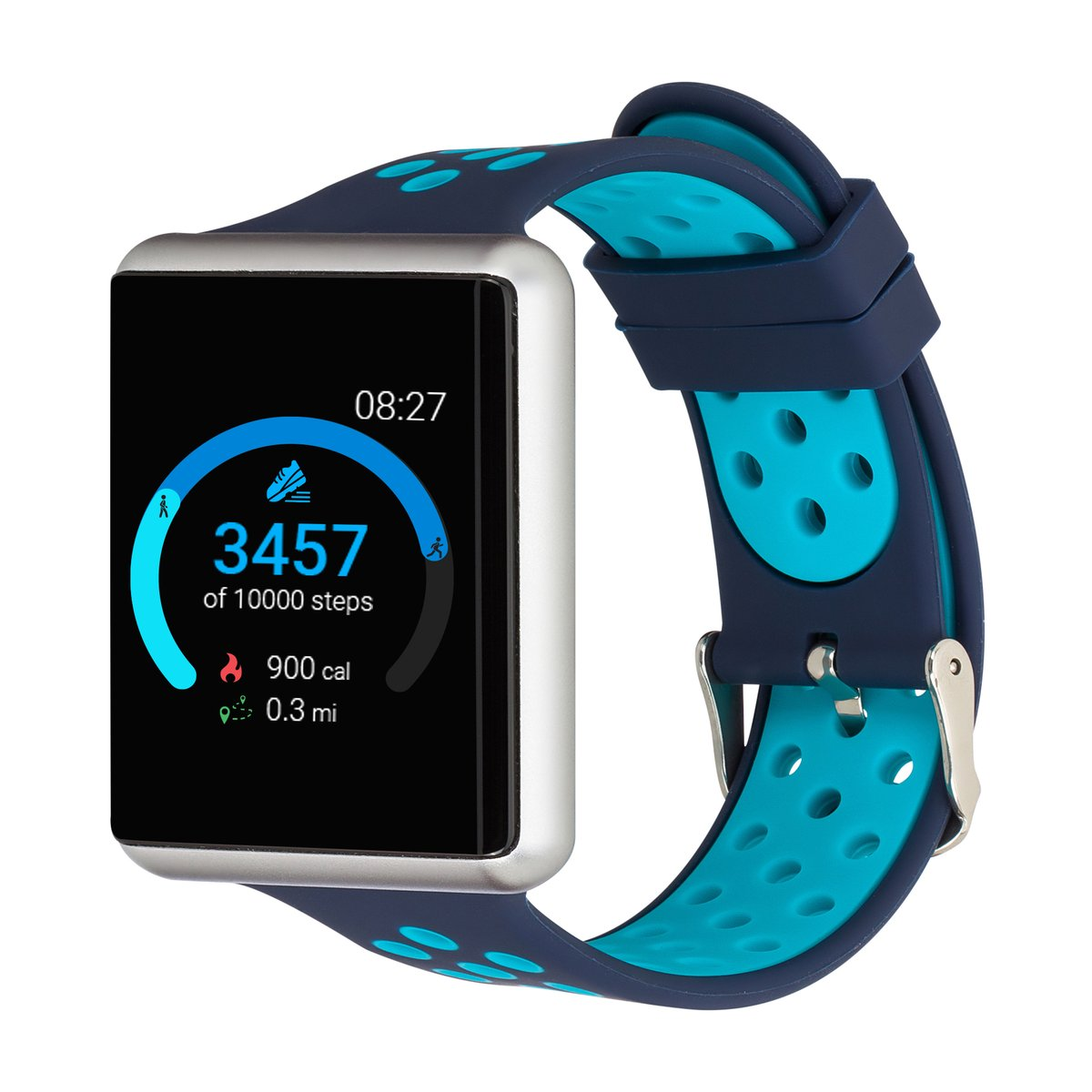 iTouch Air SE Smartwatch: Silver Case With Navy/Turquoise ...