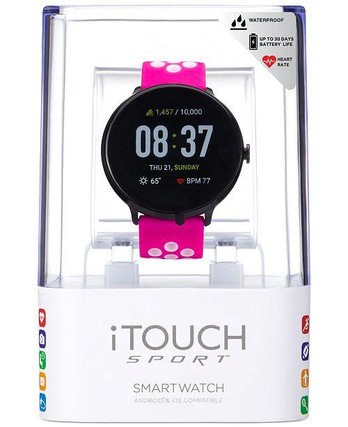 iTouch Sport Fuchsia & White Silicone Strap Touchscreen ...